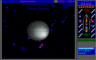 Star Control II DOS Encounter in deep space - you'll see such screens many times. You can always choose whether to talk or fight the aliens, those often diplomacy is not a real option