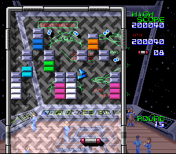 Arkanoid: Doh It Again SNES Difficult to see, that there are multiballs flying!