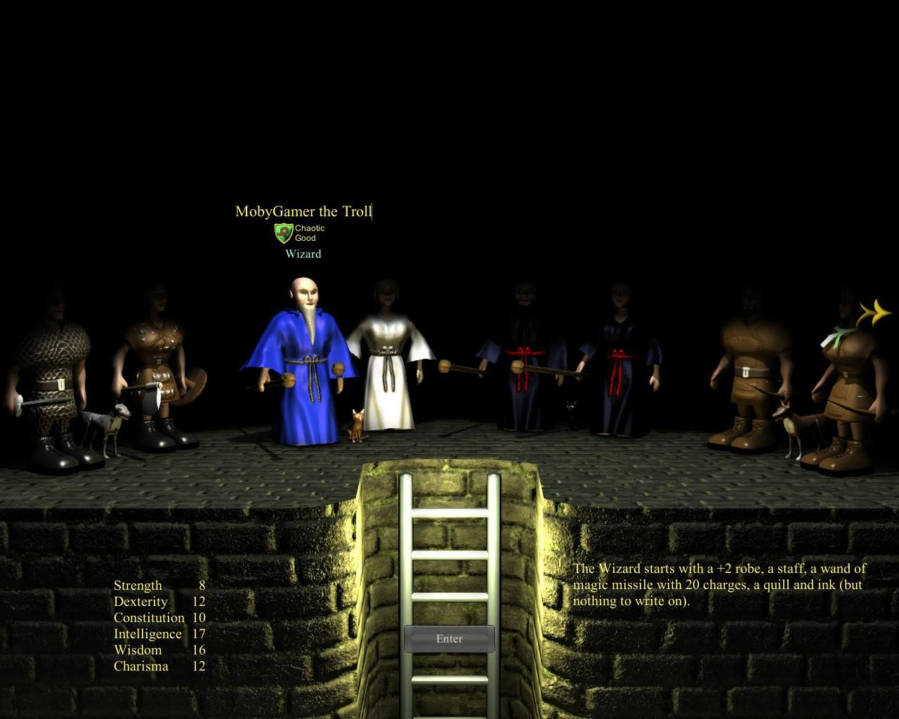WazHack Windows Character selection - From left to right: Knight (m), Valkyrie (f), Wizard (m), White Witch (f), Sorcerer (m), Sorceress (f), Huntsman (m), and Huntress (f).