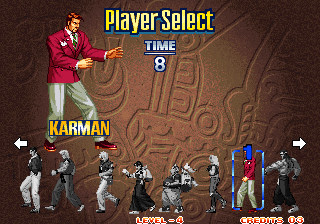 Art of Fighting 3: The Path of The Warrior Arcade Player select.