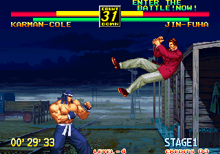 Art of Fighting 3: The Path of The Warrior Arcade Flying through the air.