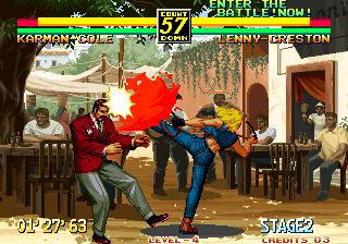 Art of Fighting 3: The Path of The Warrior Arcade High Kick.