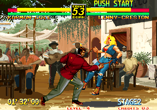 Art of Fighting 3: The Path of The Warrior Arcade Punch her back.