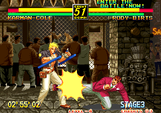 Art of Fighting 3: The Path of The Warrior Arcade Low kick to the legs.