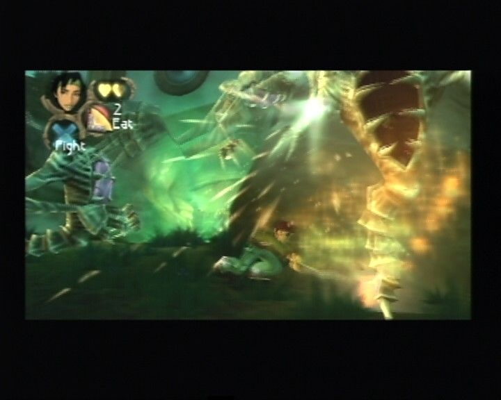Beyond Good & Evil PlayStation 2 Jade incinerating one of the DomZ with her flame stick.