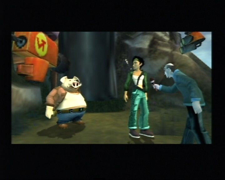 Beyond Good & Evil PlayStation 2 Interviewing the survivors of the DomZ attack..