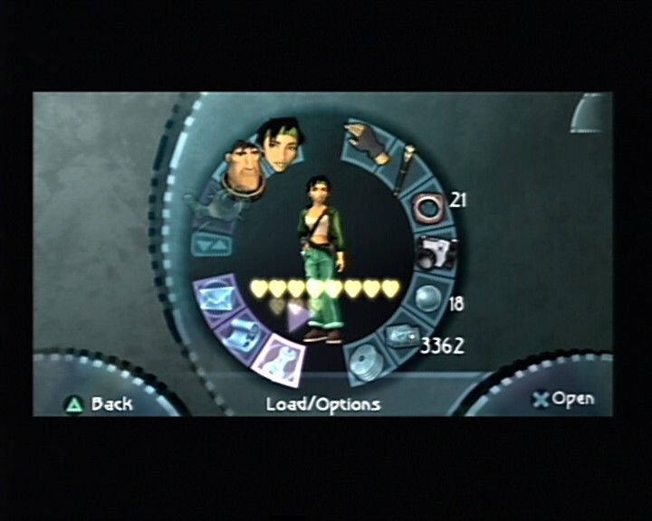 Beyond Good & Evil PlayStation 2 Inventory and game menu screen.