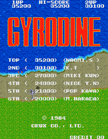 Gyrodine Arcade Title Screen.