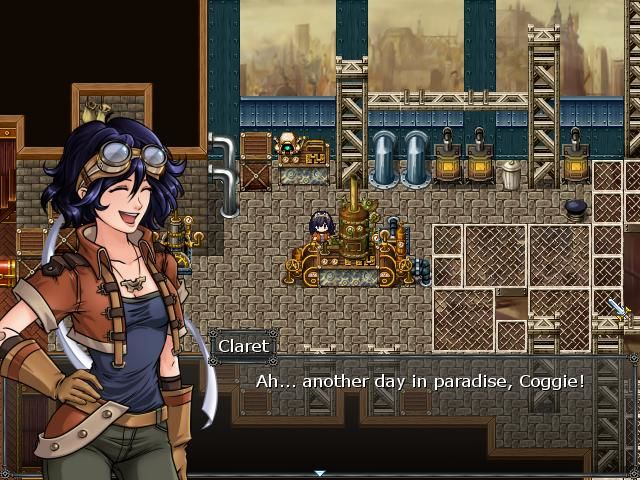 Skyborn Windows Game start - Anime inspired yet noticeably western facial graphics of our heroine, Claret.