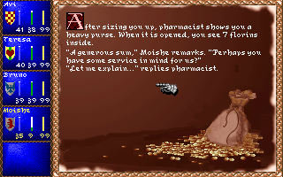 Darklands DOS Dialogue with a pharmacist. Moishe here is persuasive