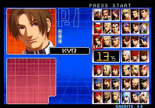 The King of Fighters 2002: Challenge to Ultimate Battle Arcade Select your team.