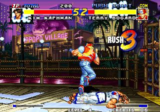 Real Bout Fatal Fury Arcade Knocked down.