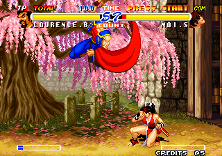 Real Bout Fatal Fury 2: The Newcomers Arcade Flying attack.