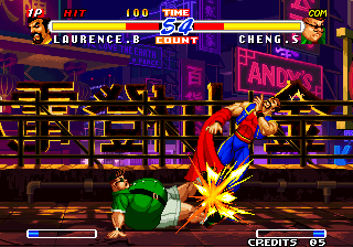 Real Bout Fatal Fury 2: The Newcomers Arcade Sliding kick.