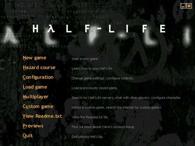 Half-Life Windows Title screen and main menu