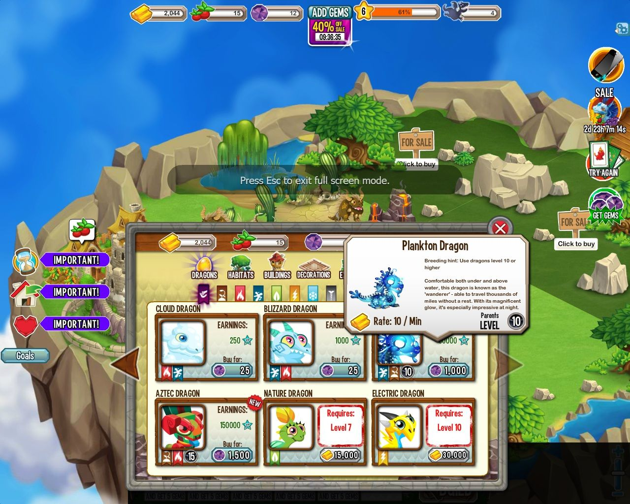 Dragon City Browser Build, Dragons - Many dragons are available for purchase. Rare dragons have level requirements as well as a considerable amount of gems which needs to be purchase with real money.