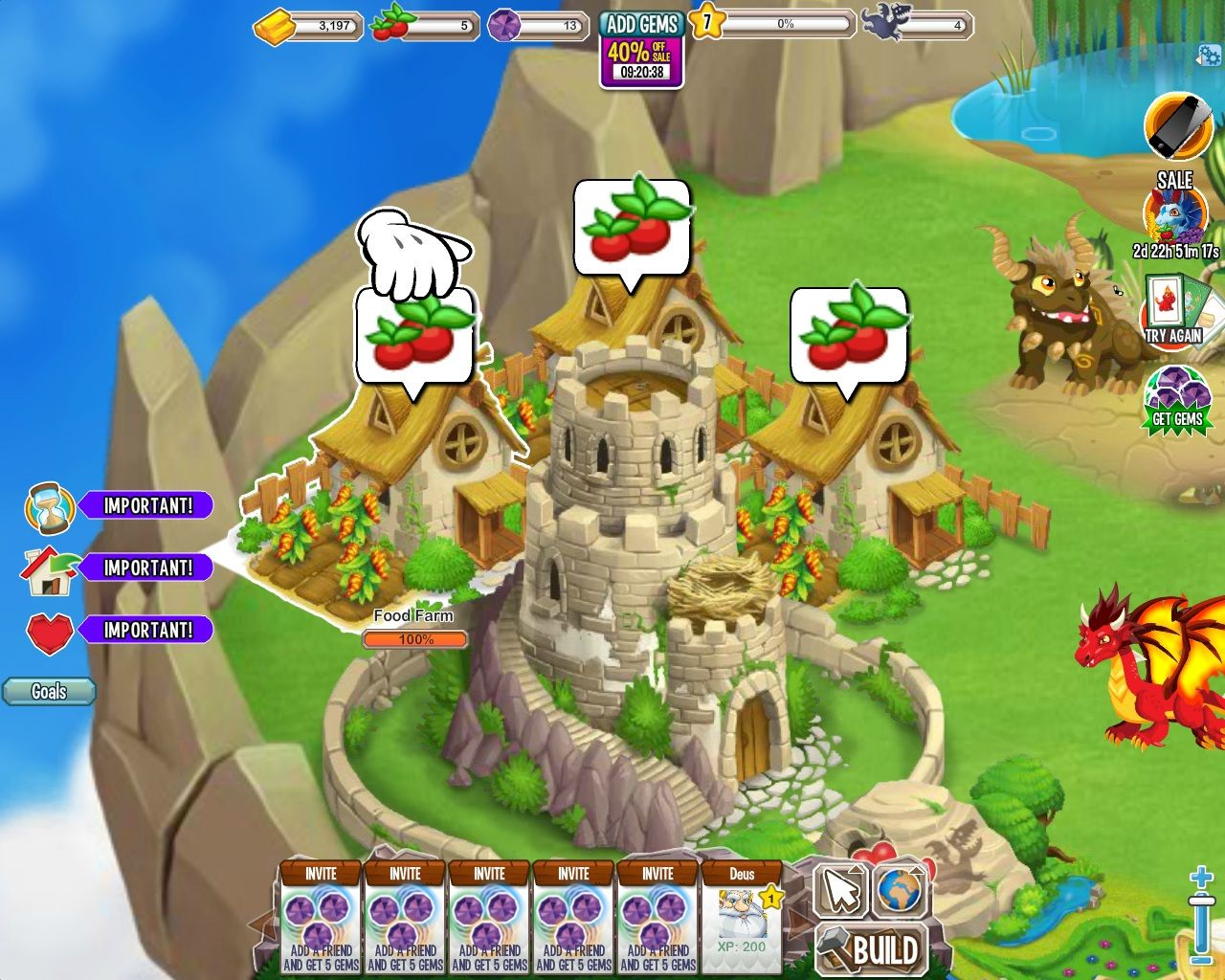 Dragon City Browser Farms, Food - A farm ready for harvest will have a fruit symbol over it.