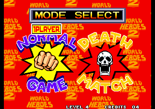 World Heroes 2 Arcade Mode Select.