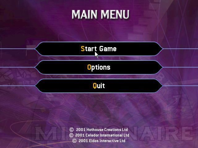 Who Wants to Be a Millionaire: 2nd Edition Windows The game's main menu