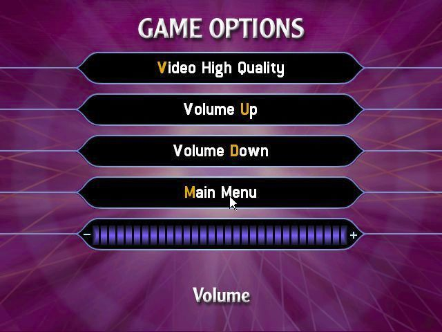 Who Wants to Be a Millionaire: 2nd Edition Windows The game configuration option screen
