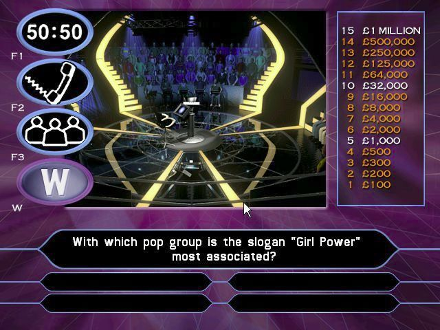 Who Wants to Be a Millionaire: 2nd Edition Windows The start of a game. There's a bit of an animation before the questions are asked. The same game screen is used for the Fastest Finger game, Head to Head, and the Team game