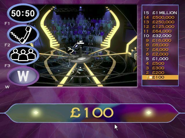 Who Wants to Be a Millionaire: 2nd Edition Windows Up to £1000 the player answers a question and, if correct they are shown their prize money. After £1000 this changes slightly