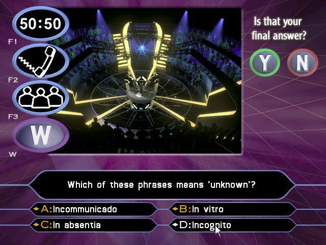 Who Wants to Be a Millionaire: 2nd Edition Windows After the £1000 prize has been won the player is asked 'Is that your final answer?' after every question