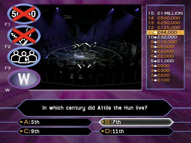 Who Wants to Be a Millionaire: 2nd Edition Windows Here the 'Phone a friend' option has been used. They gave answer B which is now highlighted