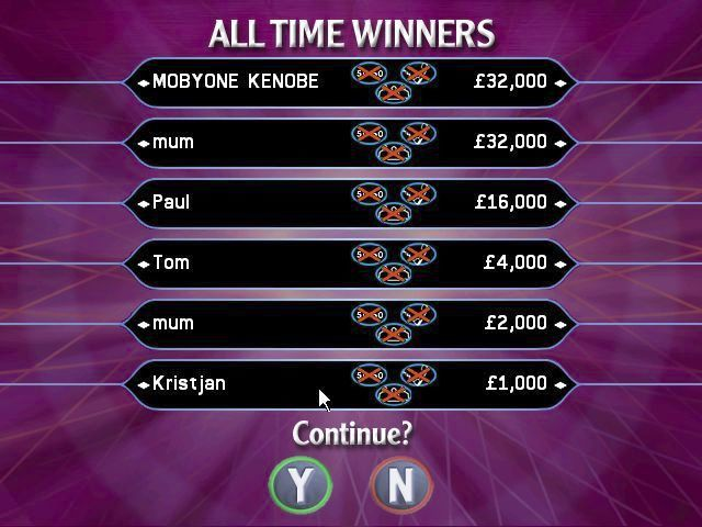 Who Wants to Be a Millionaire: 2nd Edition Windows The 'All Time' high score table. Paul, Tom & Kristjan are some of the names that pre-populate this table on install