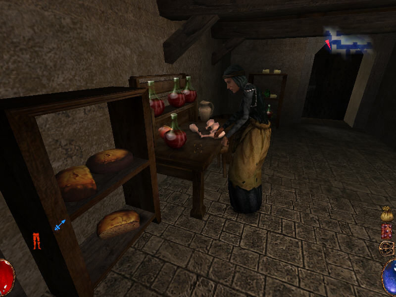 Arx Fatalis Windows Nice NPC routines: a woman is working on raw chicken legs in a kitchen