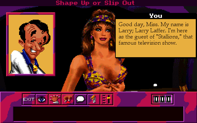 Leisure Suit Larry 6: Shape Up or Slip Out! Macintosh Flirting the first thing you do, Larry?