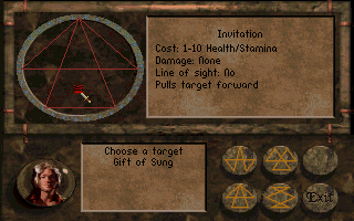 Betrayal at Krondor DOS Spell menu with interesting symbols