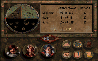 Betrayal at Krondor DOS Camp menu