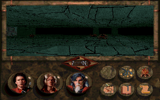 Betrayal at Krondor DOS Exploring a waterfall cave