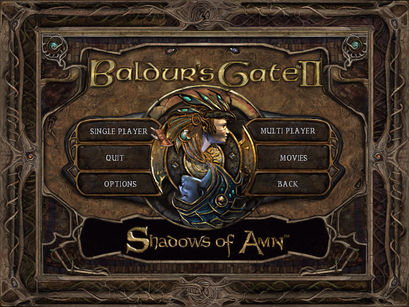 Baldur's Gate II: Shadows of Amn Windows Title screen