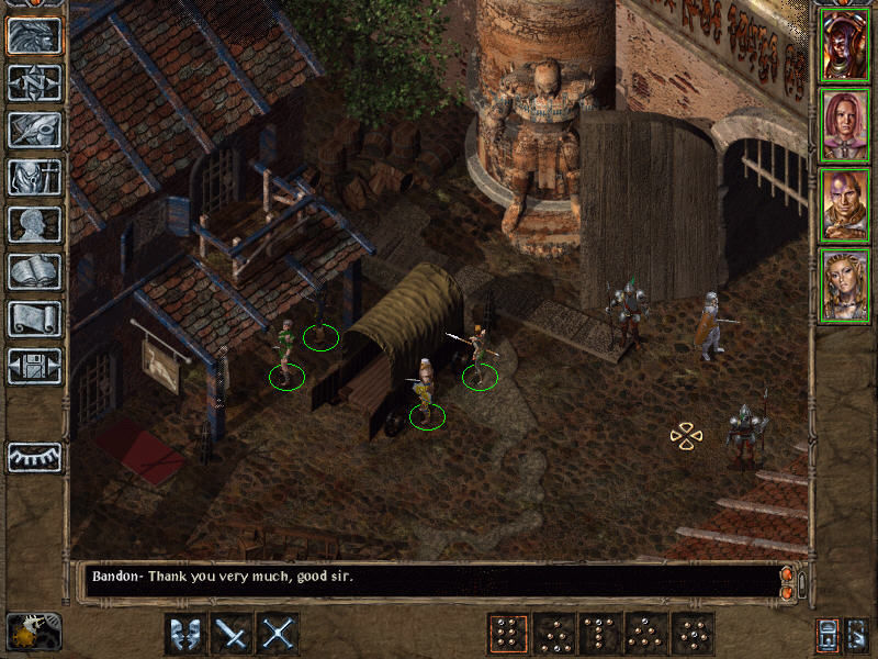Baldur's Gate II: Shadows of Amn Windows City Gate of Athkatla. It may not look like much, but check out that statue over there!..