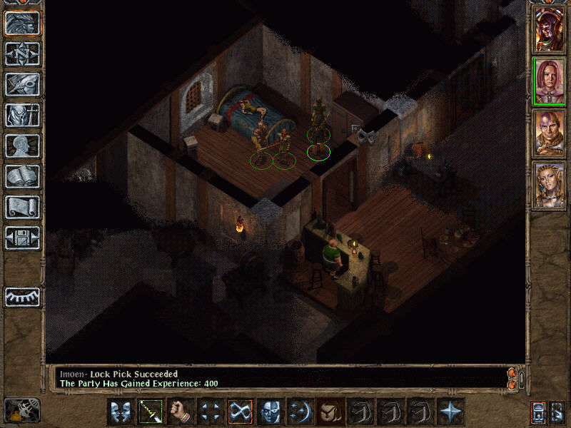 Baldur's Gate II: Shadows of Amn Windows It's time for good old-fashioned BG action. Go into a peaceful inn, break into a room with a bed and a woman sleeping on it, use your thief to pick the lock on the wardrobe... ahhh, good stuff!