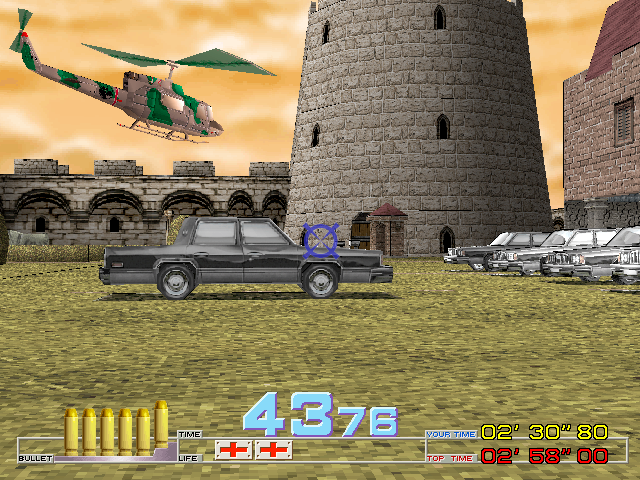 Time Crisis Arcade Helicopter to shoot.
