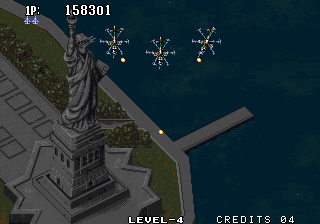 Aero Fighters 2 Arcade Statue of Liberty.