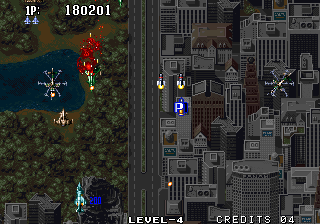Aero Fighters 2 Arcade Flying over Central park.