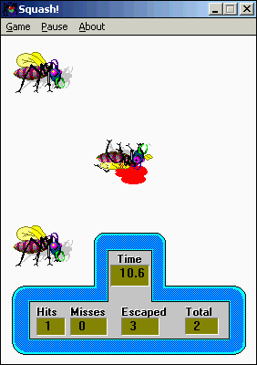 Squash! Windows 3.x A smashed bug lies near some still-living comrades