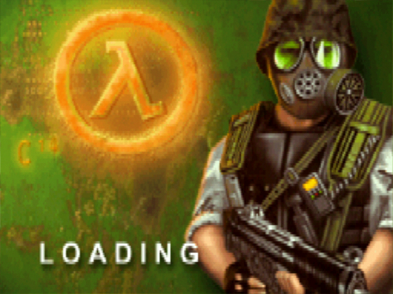 Half-Life: Opposing Force Windows Loading screen, note that Gordon Freeman now is switched to a bad-ass marine.