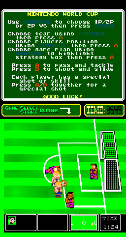 Nintendo World Cup Arcade Attacking.