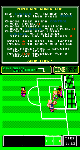 Nintendo World Cup Arcade Keeper saved.