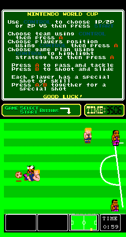 Nintendo World Cup Arcade Sliding tackle.