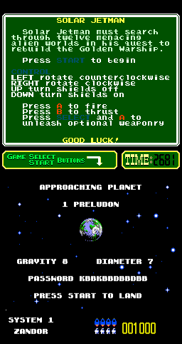Solar Jetman: Hunt for the Golden Warpship Arcade Approaching planet.