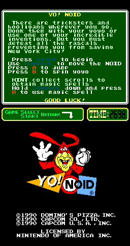 Yo! Noid Arcade Title Screen.