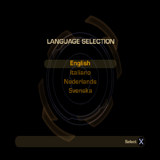 GoldenEye: Rogue Agent PlayStation 2 The language selection screen of the UK version
