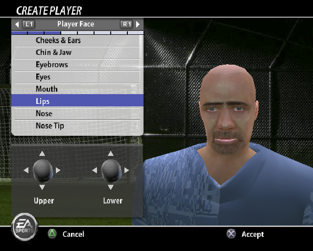 FIFA Soccer 06 PlayStation 2 Player creation. This allows lots of customisation, there are even separate settings for upper and lower lip, colour of the tape around the player's ring etc.