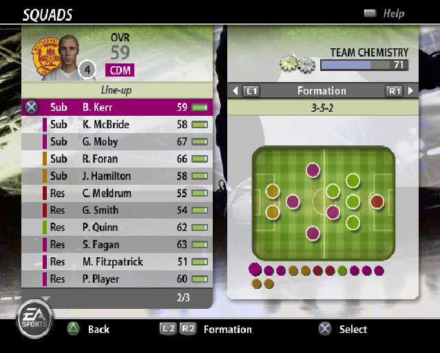 FIFA Soccer 06 PlayStation 2 The team selection and team formation screen. The team formation can be changed in-game as well